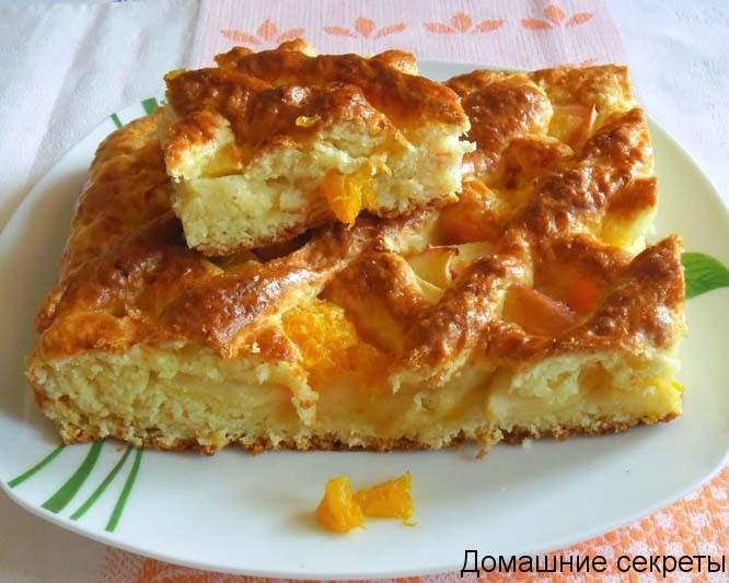 пирог с яблоками и творогом рецепт