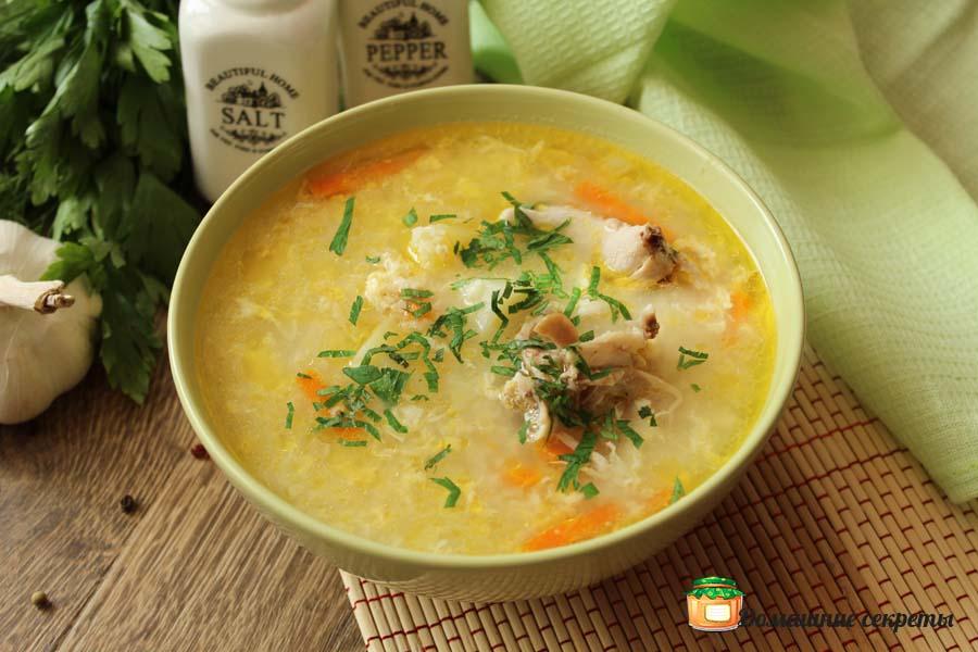 Пшенный суп с яйцом